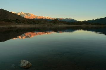 Sunrise on lake Potrerillos