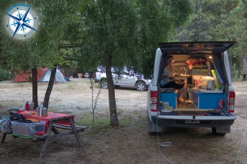 Our camper setup in a campground in El Chalten, Argentina.