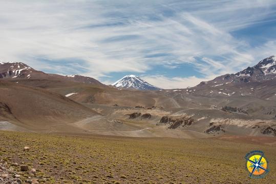 First view of the volcano Maipo, Laguna Del Diamante, Mendoza, Argentina