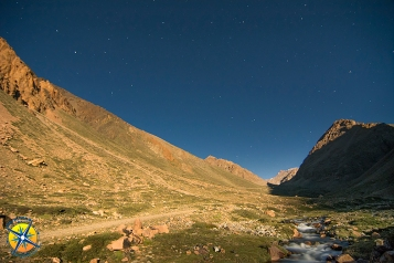 Wildcamp at 3100m above Manzano Historico, Mendoza. Night image shot with the light of the full moon.
