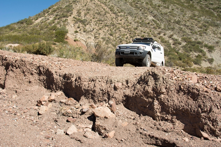 The trail is in such poor condition that some parts have been washed out completely. A good reason for not driving fast even when the going seems smooth!